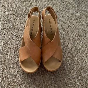 Tan Lucky Brand Criss-Cross Leather Strap Wedges